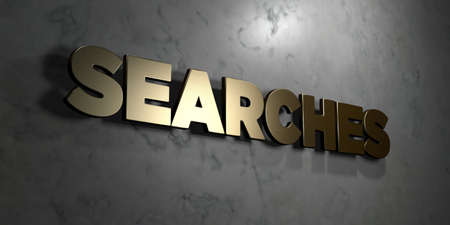 searches: Searches - Gold sign mounted on glossy marble wall  - 3D rendered royalty free stock illustration. This image can be used for an online website banner ad or a print postcard. Stock Photo