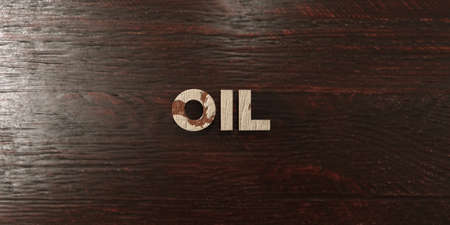 Oil - grungy wooden headline on Maple  - 3D rendered royalty free stock image. This image can be used for an online website banner ad or a print postcard.