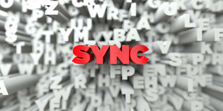 SYNC -  Red text on typography background - 3D rendered royalty free stock image. This image can be used for an online website banner ad or a print postcard.