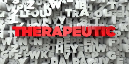 therapeutic: THERAPEUTIC -  Red text on typography background - 3D rendered royalty free stock image. This image can be used for an online website banner ad or a print postcard.