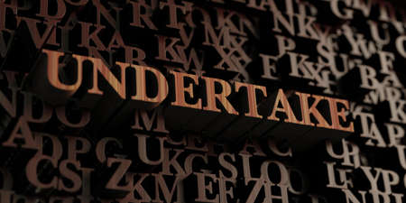 undertake: Undertake - Wooden 3D rendered lettersmessage.  Can be used for an online banner ad or a print postcard.