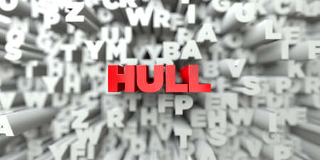 hull: HULL -  Red text on typography background - 3D rendered royalty free stock image. This image can be used for an online website banner ad or a print postcard.