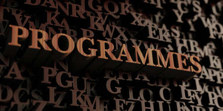 programmes: Programmes - Wooden 3D rendered lettersmessage.  Can be used for an online banner ad or a print postcard. Stock Photo