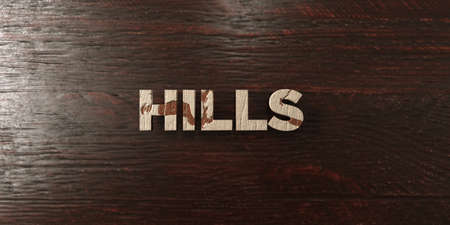 Hills - grungy wooden headline on Maple  - 3D rendered royalty free stock image. This image can be used for an online website banner ad or a print postcard.