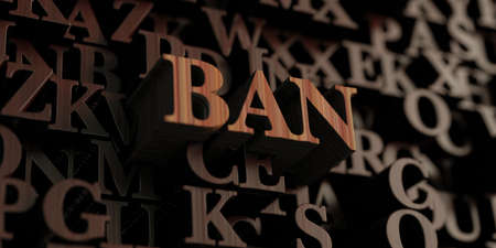 Ban - Wooden 3D rendered lettersmessage.  Can be used for an online banner ad or a print postcard.