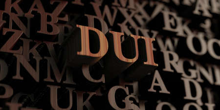 dui: Dui - Wooden 3D rendered lettersmessage.  Can be used for an online banner ad or a print postcard. Stock Photo