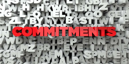 commitments: COMMITMENTS -  Red text on typography background - 3D rendered royalty free stock image. This image can be used for an online website banner ad or a print postcard.