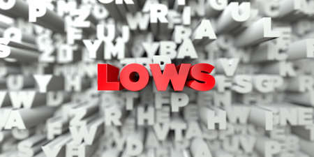lows: LOWS -  Red text on typography background - 3D rendered royalty free stock image. This image can be used for an online website banner ad or a print postcard.