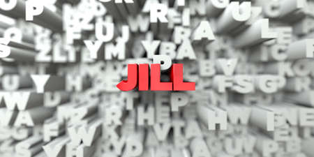 jill: JILL -  Red text on typography background - 3D rendered royalty free stock image. This image can be used for an online website banner ad or a print postcard. Stock Photo