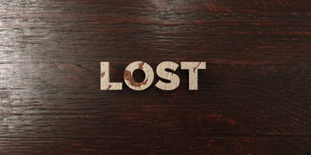 be lost: Lost - grungy wooden headline on Maple  - 3D rendered royalty free stock image. This image can be used for an online website banner ad or a print postcard.