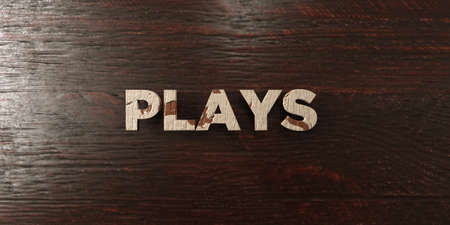 Plays - grungy wooden headline on Maple  - 3D rendered royalty free stock image. This image can be used for an online website banner ad or a print postcard. Stock Photo