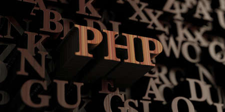 Php - Wooden 3D rendered lettersmessage.  Can be used for an online banner ad or a print postcard.