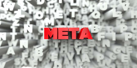 meta: META -  Red text on typography background - 3D rendered royalty free stock image. This image can be used for an online website banner ad or a print postcard. Stock Photo