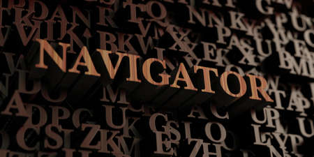 Navigator - Wooden 3D rendered lettersmessage.  Can be used for an online banner ad or a print postcard.