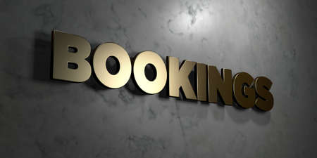 Bookings - Gold sign mounted on glossy marble wall  - 3D rendered royalty free stock illustration. This image can be used for an online website banner ad or a print postcard.