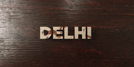 Delhi - grungy wooden headline on Maple  - 3D rendered royalty free stock image. This image can be used for an online website banner ad or a print postcard.