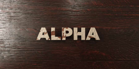 Alpha - grungy wooden headline on Maple  - 3D rendered royalty free stock image. This image can be used for an online website banner ad or a print postcard.