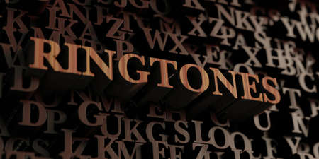 ringtones: Ringtones - Wooden 3D rendered lettersmessage.  Can be used for an online banner ad or a print postcard. Stock Photo