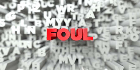 foul: FOUL -  Red text on typography background - 3D rendered royalty free stock image. This image can be used for an online website banner ad or a print postcard. Stock Photo
