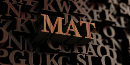 Mat - Wooden 3D rendered lettersmessage.  Can be used for an online banner ad or a print postcard.