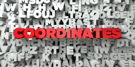 sentence typescript: COORDINATES -  Red text on typography background - 3D rendered royalty free stock image. This image can be used for an online website banner ad or a print postcard.