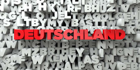 deutschland: DEUTSCHLAND -  Red text on typography background - 3D rendered royalty free stock image. This image can be used for an online website banner ad or a print postcard. Stock Photo