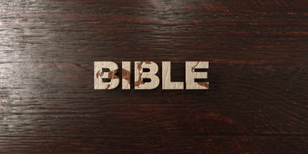 Bible - grungy wooden headline on Maple  - 3D rendered royalty free stock image. This image can be used for an online website banner ad or a print postcard.