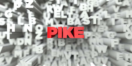 PIKE -  Red text on typography background - 3D rendered royalty free stock image. This image can be used for an online website banner ad or a print postcard.
