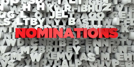 NOMINATIONS -  Red text on typography background - 3D rendered royalty free stock image. This image can be used for an online website banner ad or a print postcard. Foto de archivo