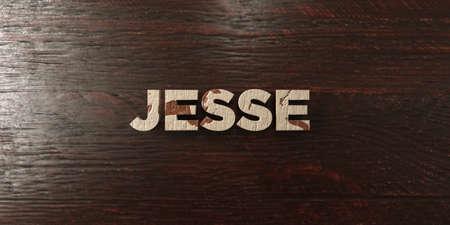 headline: Jesse - grungy wooden headline on Maple  - 3D rendered