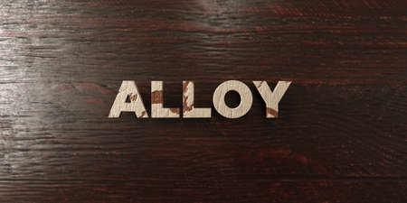 Alloy - grungy wooden headline on Maple  - 3D rendered Stock Photo