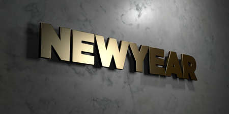 newyear: Newyear - Gold sign mounted on glossy marble wall  - 3D rendered