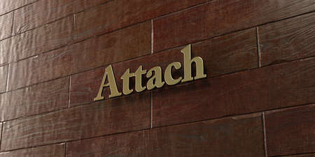 attach: Attach - Bronze plaque mounted on maple wood wall  - 3D rendered