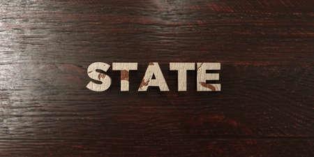 headline: State - grungy wooden headline on Maple  - 3D rendered Stock Photo