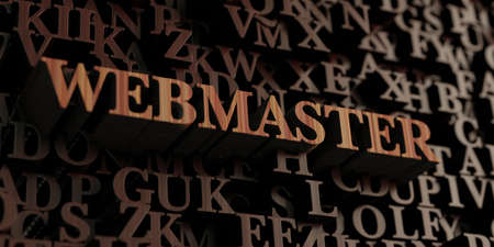 webmaster: Webmaster - Wooden 3D rendered lettersmessage.  Can be used for an online banner ad or a print postcard. Stock Photo