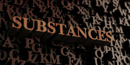 substances: Substances - Wooden 3D rendered lettersmessage.  Can be used for an online banner ad or a print postcard. Stock Photo