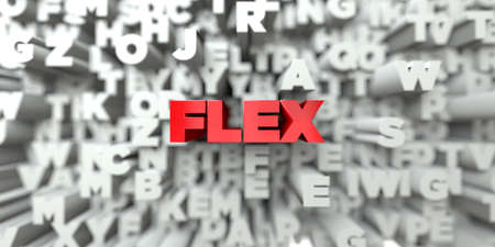 single word: FLEX -  Red text on typography background - 3D rendered royalty free stock image. This image can be used for an online website banner ad or a print postcard.