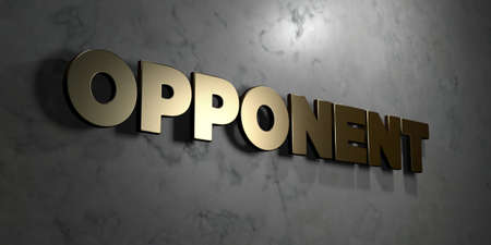 Opponent - Gold sign mounted on glossy marble wall  - 3D rendered royalty free stock illustration. This image can be used for an online website banner ad or a print postcard. Stok Fotoğraf