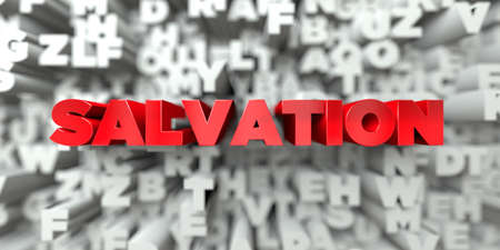 SALVATION -  Red text on typography background - 3D rendered royalty free stock image. This image can be used for an online website banner ad or a print postcard.