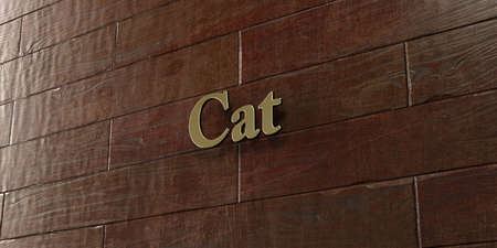 Cat - Bronze plaque mounted on maple wood wall  - 3D rendered