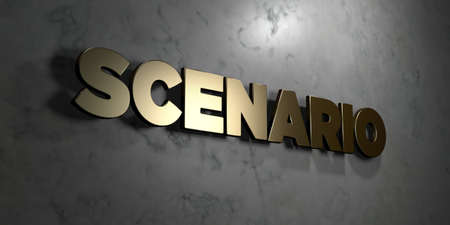 scenario: Scenario - Gold sign mounted on glossy marble wall  - 3D rendered Stock Photo