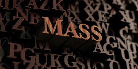Mass - Wooden 3D rendered lettersmessage.  Can be used for an online banner ad or a print postcard.