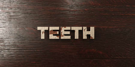 Teeth - grungy wooden headline on Maple  - 3D rendered royalty free stock image. This image can be used for an online website banner ad or a print postcard.