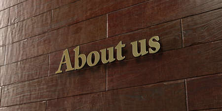 About us - Bronze plaque mounted on maple wood wall  - 3D rendered Фото со стока