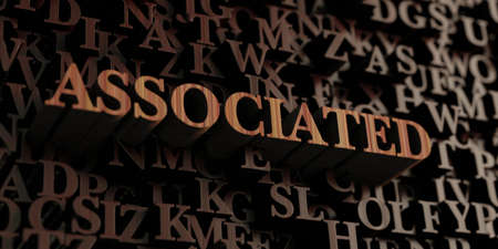 associated: Associated - Wooden 3D rendered lettersmessage. Stock Photo