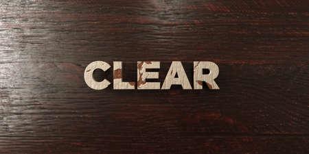 headline: Clear - grungy wooden headline on Maple  - 3D rendered