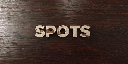 headline: Spots - grungy wooden headline on Maple  - 3D rendered