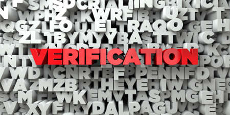 sentence typescript: VERIFICATION -  Red text on typography background - 3D rendered Stock Photo
