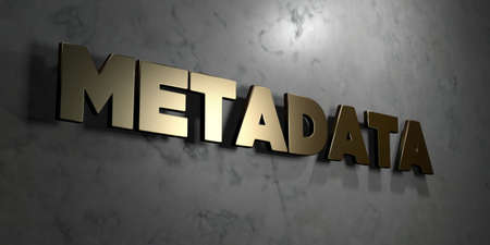 metadata: Metadata - Gold sign mounted on glossy marble wall  - 3D rendered Stock Photo