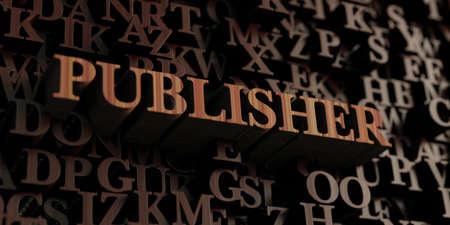 publisher: Publisher - Wooden 3D rendered lettersmessage. Stock Photo